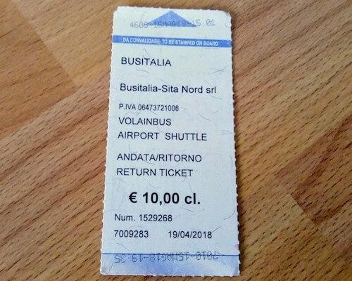 フィレンツェのシャトルバス往復チケット