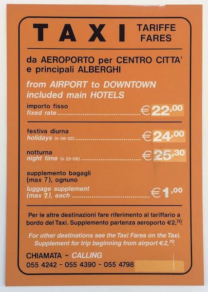 フィレンツェのタクシー料金