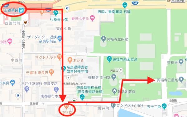 近鉄奈良から中谷堂、興福寺